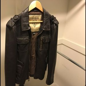 Guess Leather Jacket - Brown
